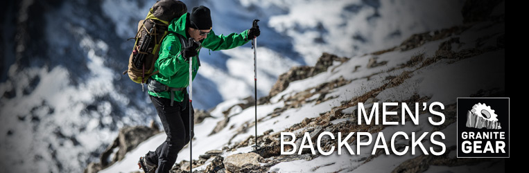 Granite Gear Men's Backpacks page banner.